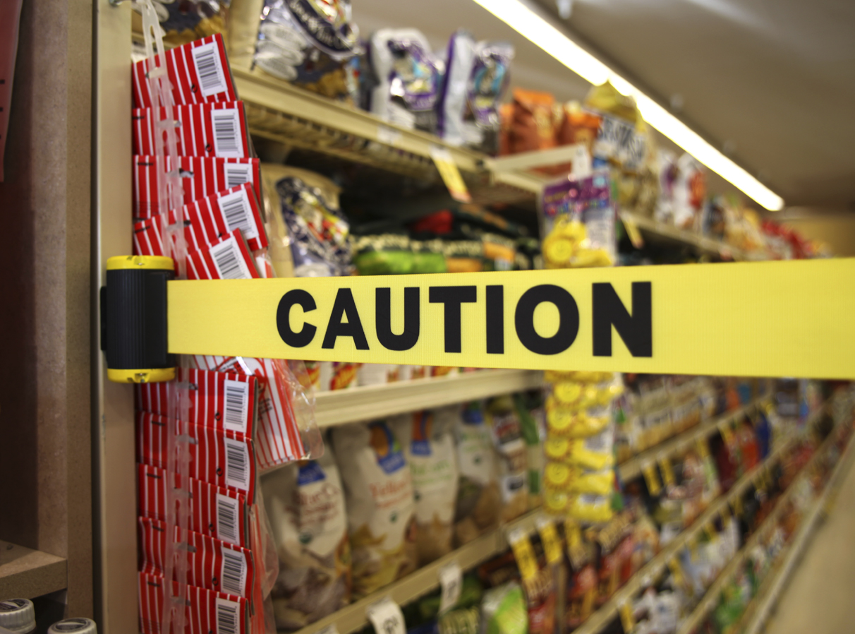 image of caution barrier blocking store asile