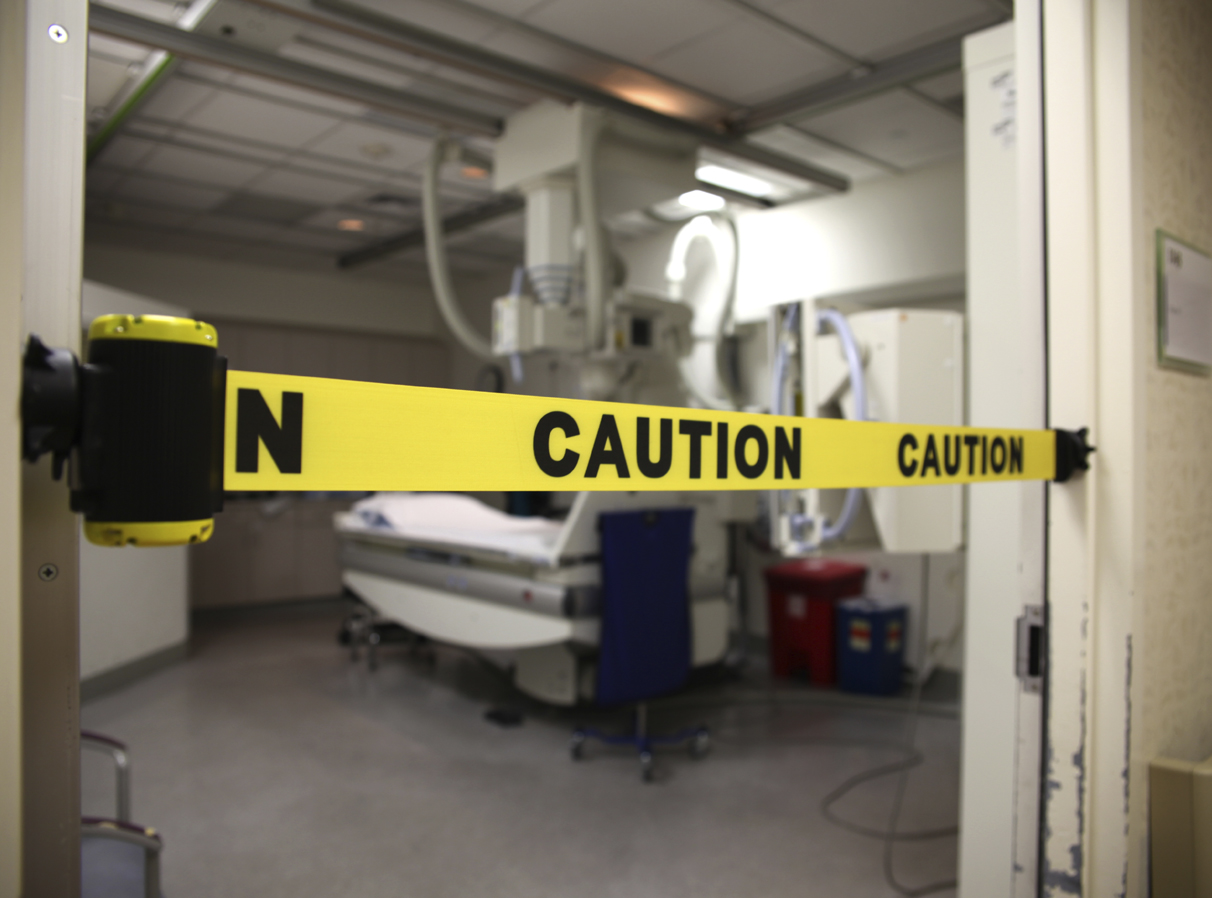 image of caution barrier in hospital