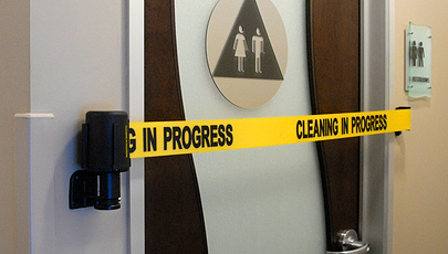 image of bathroom cleaning safety barrier