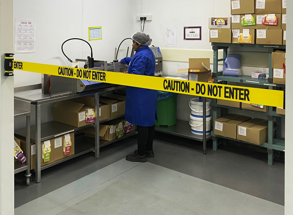 image of caution barrier in food prep area