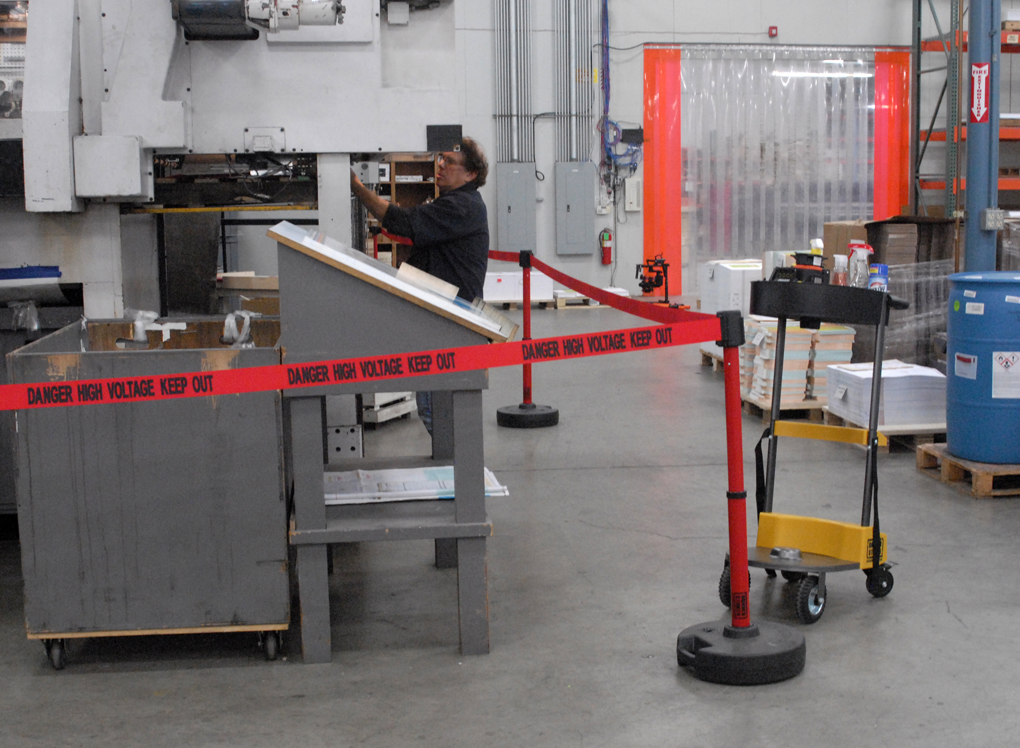 image of safety barrier in warehouse