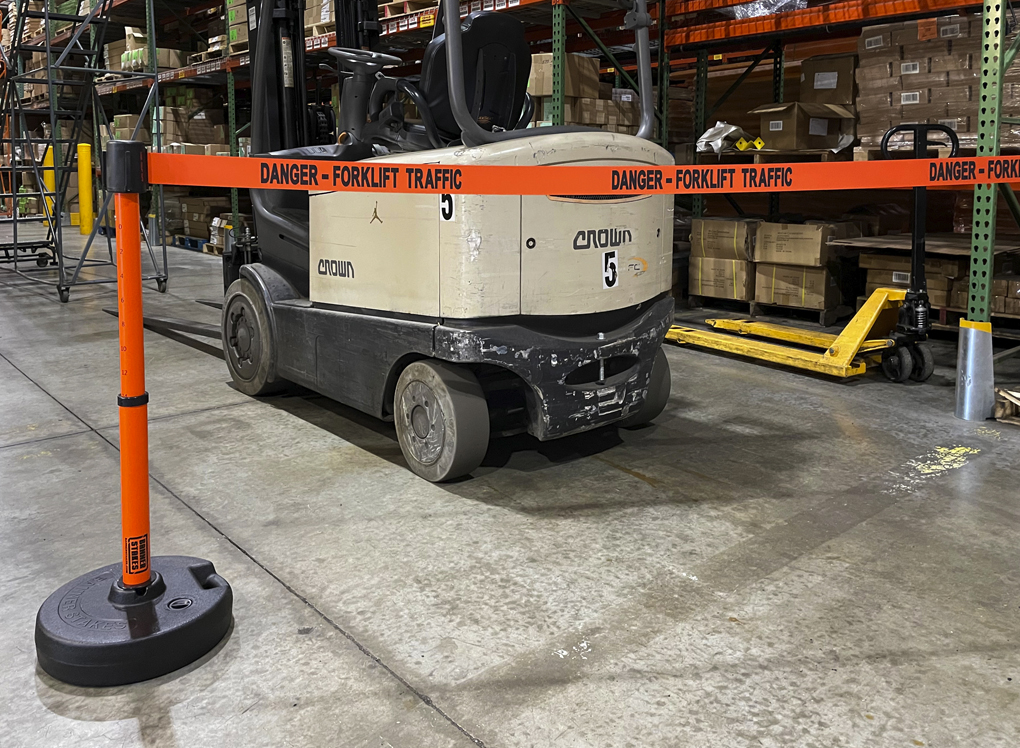 image of traffic control safety barrier in warehouse