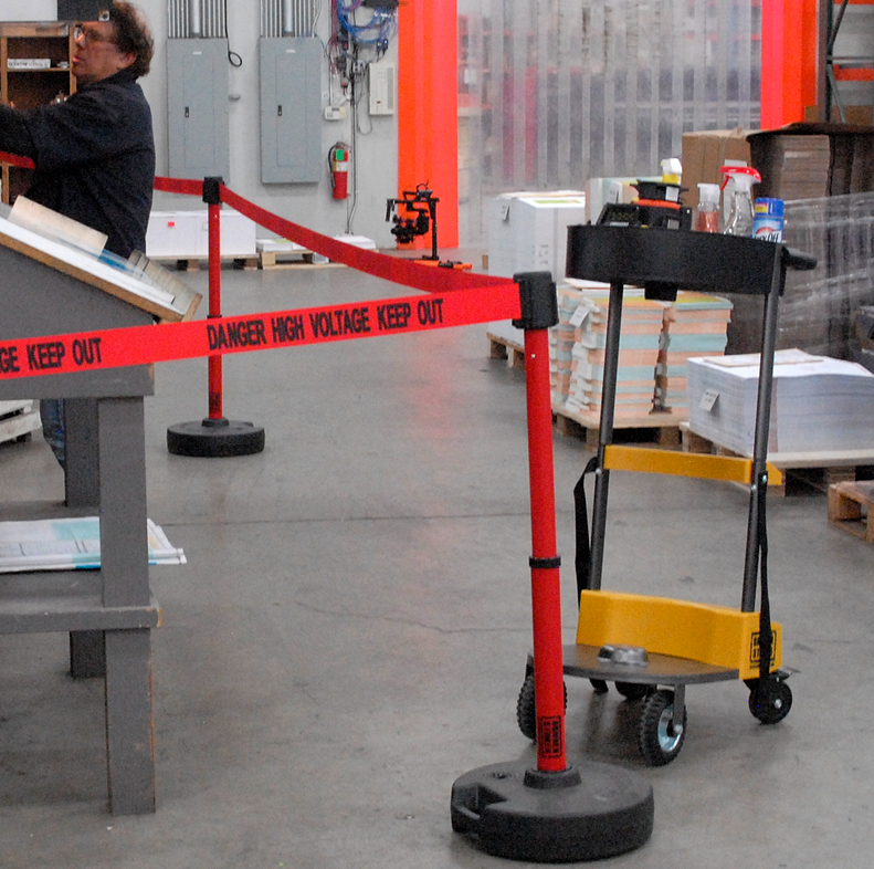 image of portable barrier in warehouse
