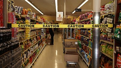 image of safety barrier at grocery store