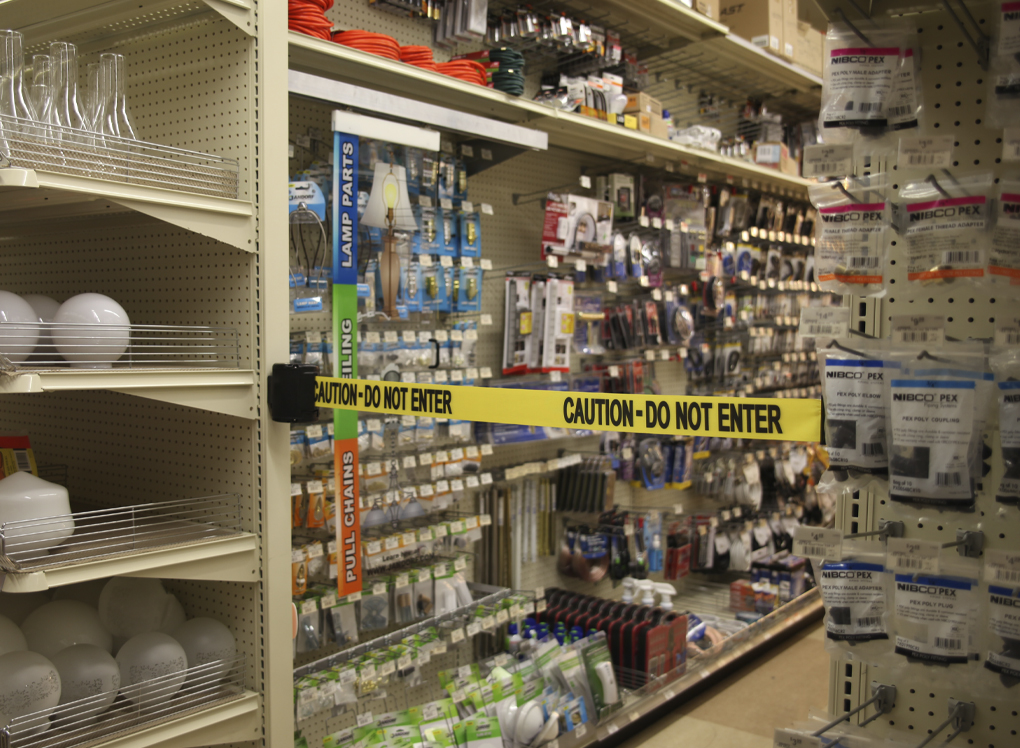 image of safety barrier blocking store asile